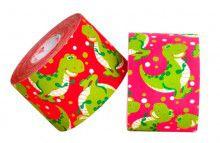 Кинезио тейп BBTape™ 5см × 5м динозаврики розовый Фото 4