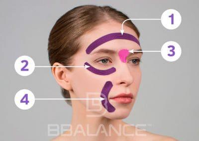 Инструкция по применению тейпа для лица для профилактики мимических морщин в области лба, глаз и уголков рта
