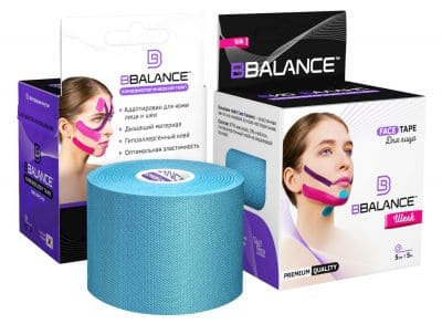 Тейп для лица BB FACE TAPE™ 5 см × 5 м шелк голубой Фото 1