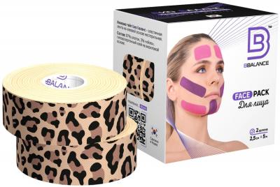 Набор кинезио тейпов для лица 2,5 см × 10 м хлопок леопард