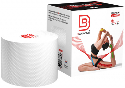 Кинезио тейп BBTape™ 5см × 5м белый Фото 1